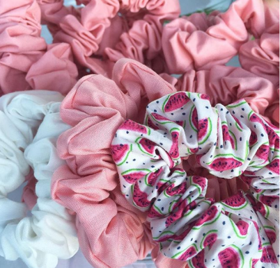 Watermelon, Baby Pink and white scrunchie