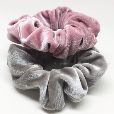 Rose and Grey Velvet Scrunchies